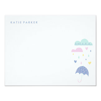 Hearts & Raindrops Stationery - Cobalt Card