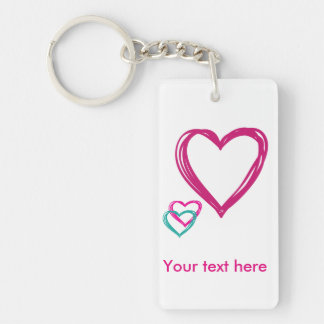 Hearts Rectangle (single-sided) Keychain