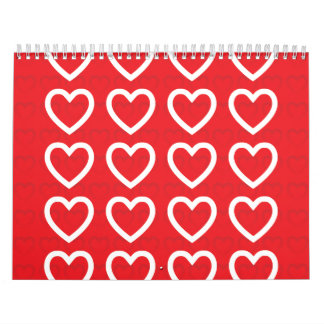 Hearts red calendars