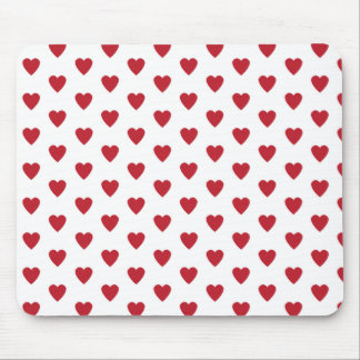 Hearts Red on White pattern Mouse Pad