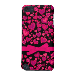 Hearts ribbon red hot pink & black ipod case