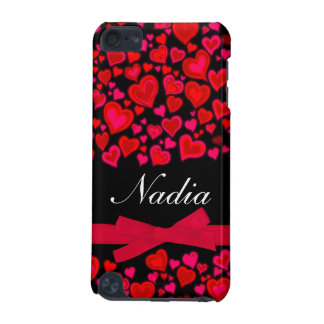 Hearts ribbon red hot pink & black name ipod case