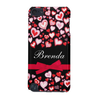 Hearts ribbon red pink & black name ipod case