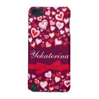 Hearts ribbon red pink & mauve name ipod case