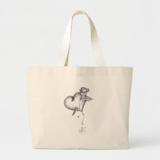 hearts ripped large tote bag