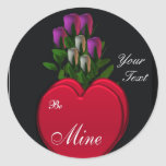 Hearts & Roses ,Customizable Classic Round Sticker