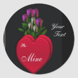 Hearts & Roses, customizable Classic Round Sticker