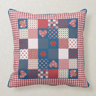Hearts, Roses Faux-Patchwork Pillow or Cushion