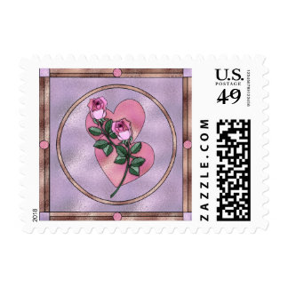 Hearts Roses Stained Glass Postage Stamps