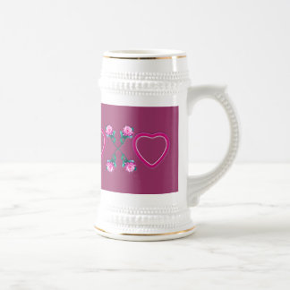 Hearts & Roses X's & O's 18 Oz Beer Stein