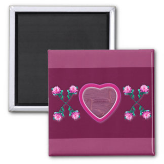 Hearts & Roses X's & O's Photo Frame 2 Inch Square Magnet