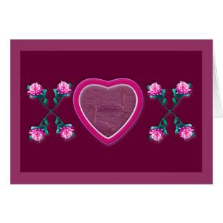 Hearts & Roses X's & O's Photo Frame Card