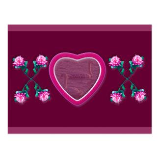 Hearts & Roses X's & O's Photo Frame Postcard