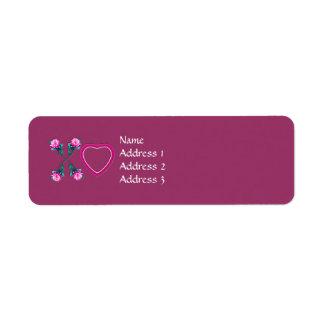 Hearts & Roses X's & O's Return Address Labels