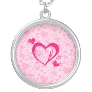 Hearts Round Pendant Necklace