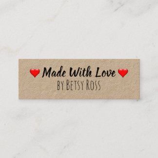 Hearts Rustic Made With Love Handmade Kraft Mini Business Card