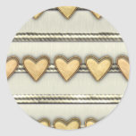 Hearts, Satin and Ribbon Classic Round Sticker