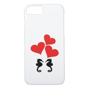 Beach Themed Hearts & Seahorse iPhone 7 Case