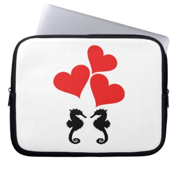 Beach Themed Hearts & Seahorse Laptop Sleeve