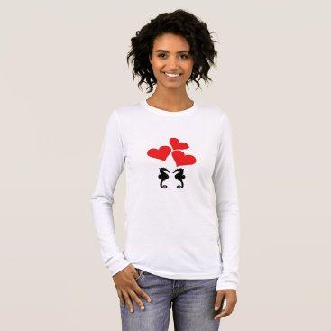 Beach Themed Hearts & Seahorse Long Sleeve T-Shirt