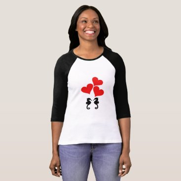 Beach Themed Hearts & Seahorse T-Shirt
