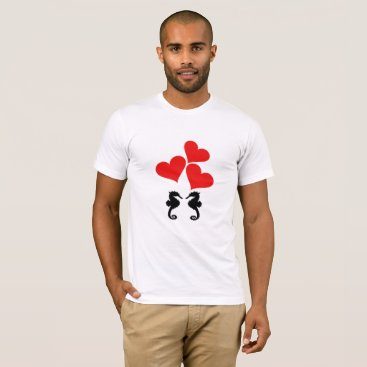 Beach Themed Hearts & Seahorse T-Shirt