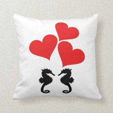 Beach Themed Hearts & Seahorse Throw Pillow