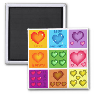 Hearts Set 2 Inch Square Magnet