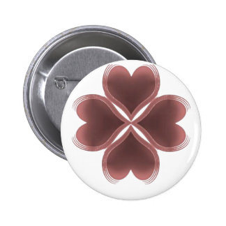 Hearts Shaped Into Four Leaved Clover Pinback Button