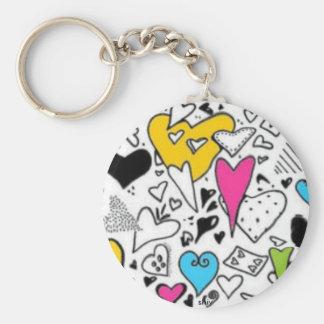 Hearts, shiv basic round button keychain