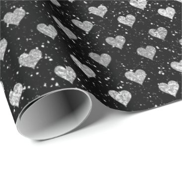 Beach Themed Hearts Silver Glam Black Sparkly Glitter Glam Wrapping Paper