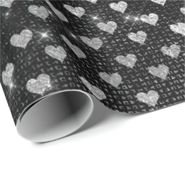 Beach Themed Hearts Silver Gray Metallic Sparkly Urban Wrapping Paper