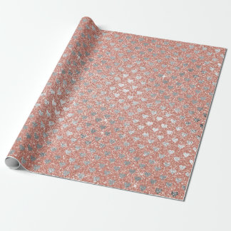 Hearts Silver Pink Rose Powder Gold Glitter Wrapping Paper