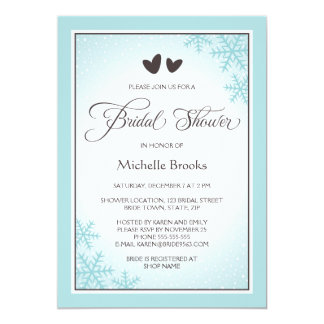 Hearts, snowflakes aqua brown winter bridal shower invites