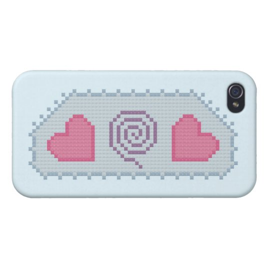 Hearts Spiral Cross Stitch Covers For iPhone 4