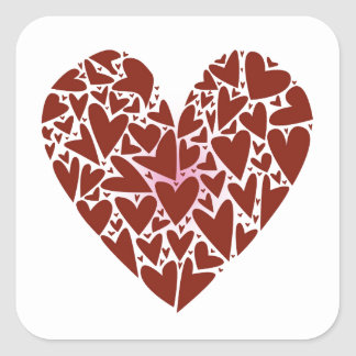 Hearts Square Sticker