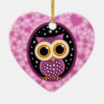 hearts, stars and owl Double-Sided heart ceramic christmas ornament