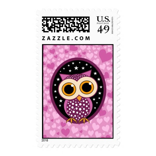 hearts, stars and owl postage stamp