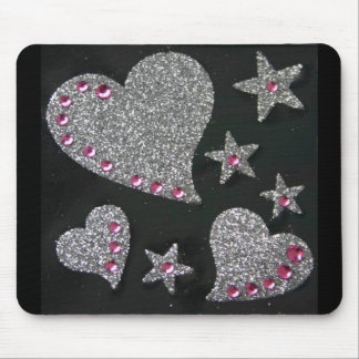 Hearts & Stars Bling mouse pad