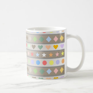 Hearts Stars Diamond & Dots Pattern Coffee Mug