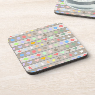 Hearts Stars Diamond & Dots Pattern Drink Coaster