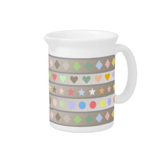 Hearts Stars Diamond & Dots Pattern Drink Pitcher