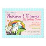 Hearts Stars Rainbow and Unicorns Invitation