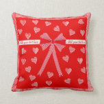 Hearts, stripes and bow American MoJo Pillow