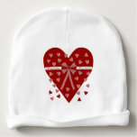 Hearts, stripes and bow baby beanie