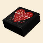 Hearts, stripes and bow jewelry box