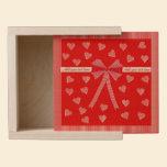 Hearts, stripes and bow wooden keepsake box