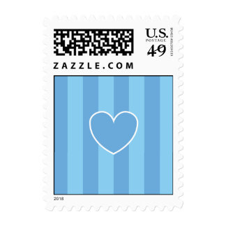 Hearts & Stripes Postage Stamps - Blue