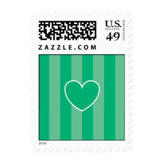 Hearts & Stripes Postage Stamps - Green