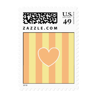 Hearts & Stripes Postage Stamps - Peach